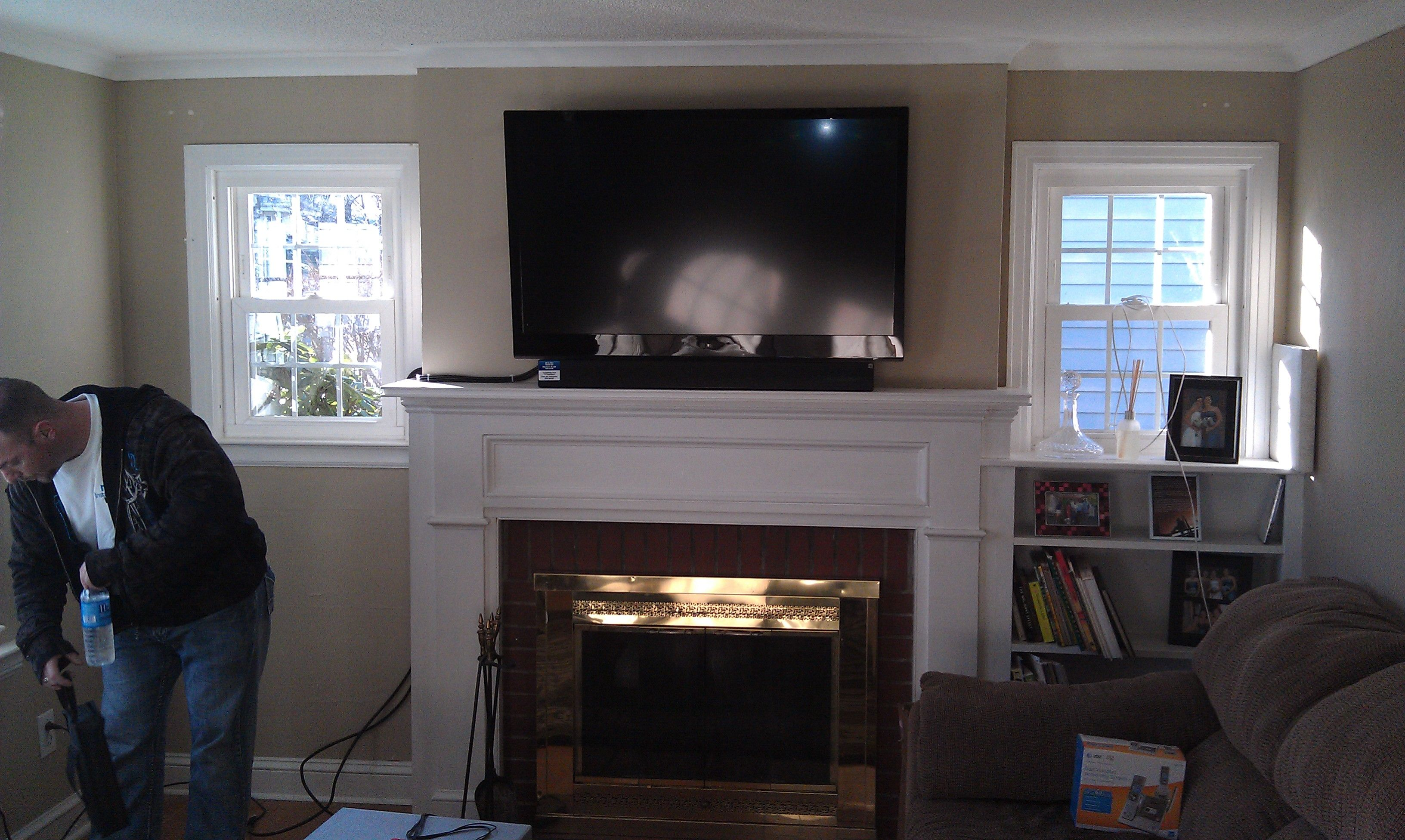 Mounting Soundbar On Wall Above Tv Tv Mounted Above Fireplace
