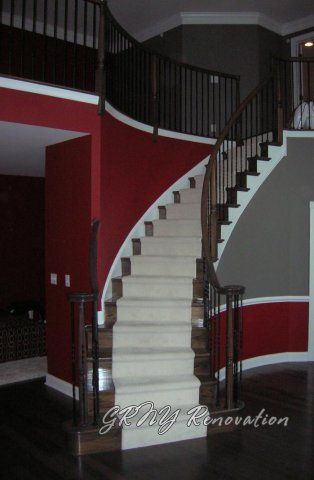Gray Wall With Red Painting And Treatments Walls Painted In Colors
