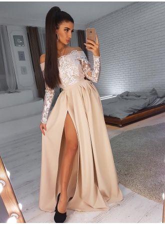 Champagne Abendkleider Mit Armel Abiballkleider Lang Mit Spitze Modellnummer Dd0490 In 2020 Abiball Kleider Lang Elegante Abendkleider Abendkleid