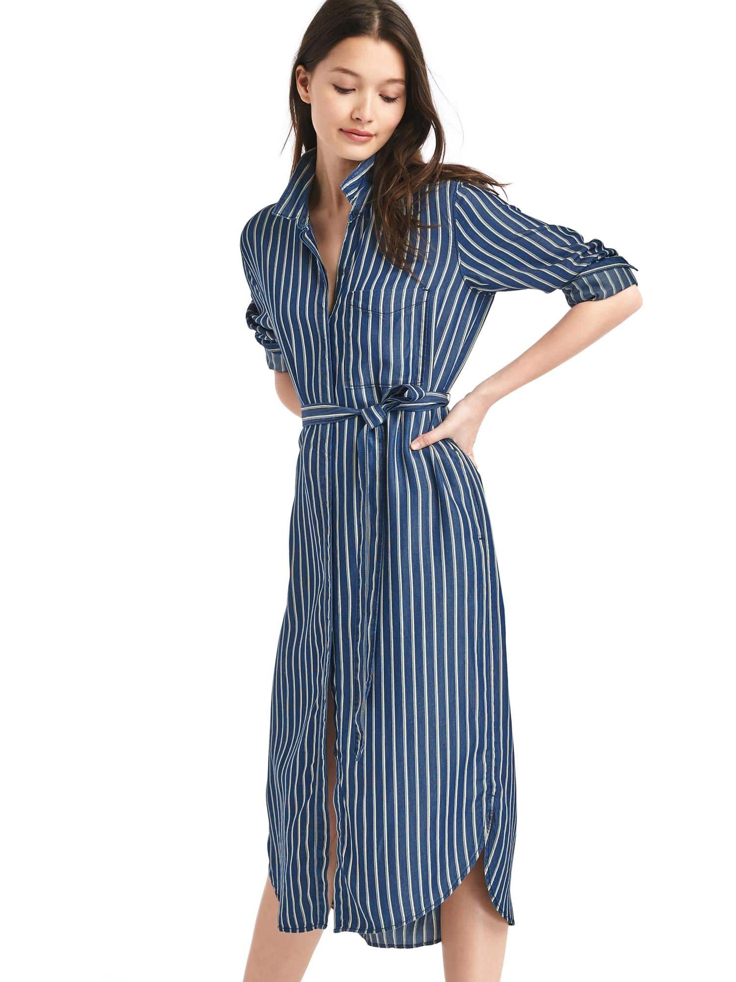 Tencel stripe midi shirtdress  b1b06e533