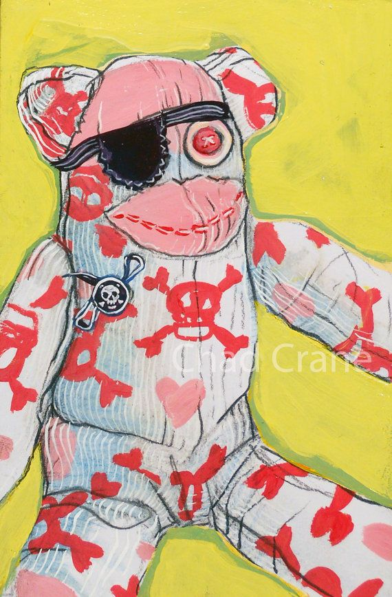 Sock Monkey Pirate Art by MaddiesMinions on etsy