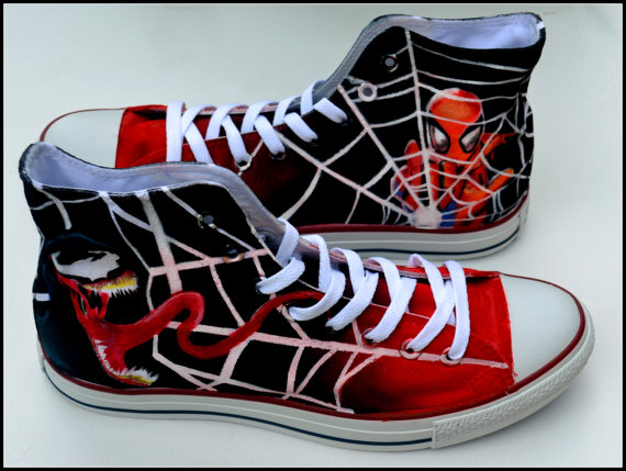 6b2a275e4d4c Hand Painted Unisex Converse - Spiderman Theme  Shoes by PricklyPaw ...