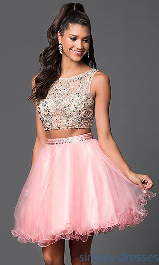 5e36fecdd24 Shop two-piece party dresses and homecoming dresses at Simply Dresses. Short  sweet-sixteen dresses with sleeveless crop tops for parties.