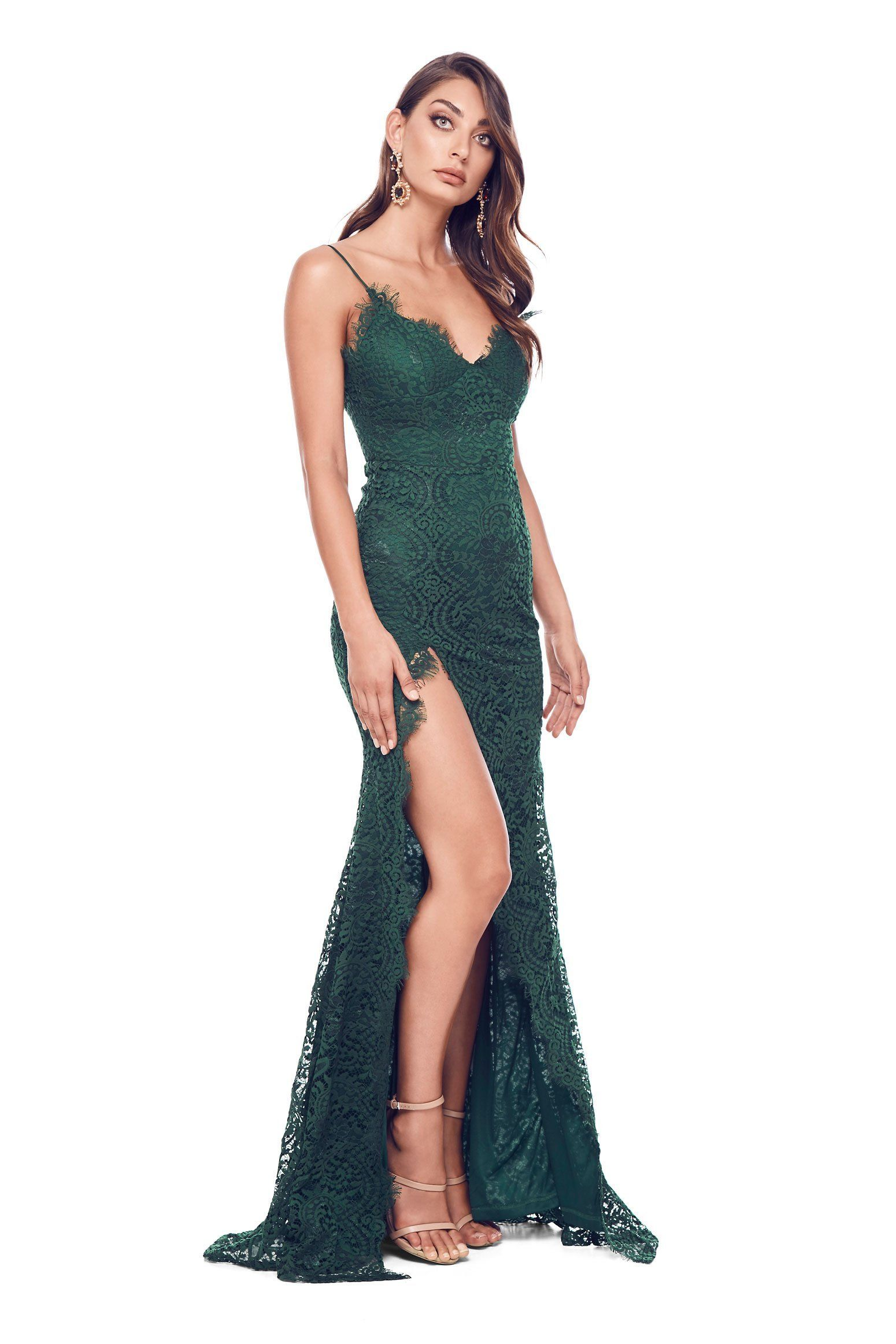 ddb960d74d Layali - Sleeveless Emerald Lace Gown with Side Split   Open Back