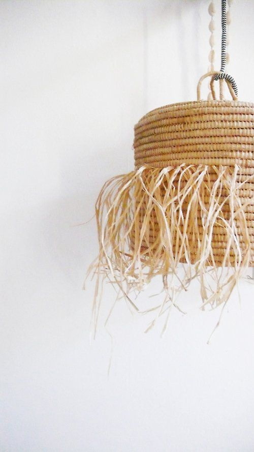 Natural raffia lamp with textile cable switch and plug fringed image of natural raffia lamp with textile cable switch and plug fringed mozeypictures Gallery