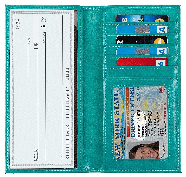 Genuine Leather Checkbook Cover Wallet Organizer W// Credit Card Holder Unisex