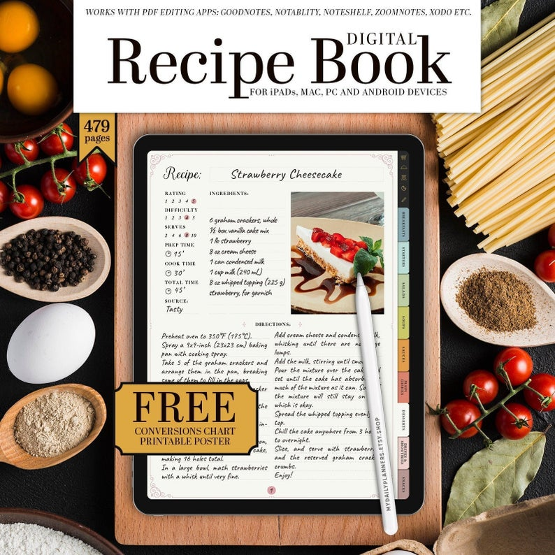 Digital Recipe Book For Ipad Goodnotes Notability Hyperlinked Portrait Meal Planner Digital Recipe Book Recipe Book Recipe Book Templates