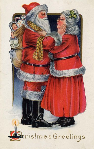 Mr Mrssantaclaus Mrs Claus Wikipedia The Free Encyclopedia Christmas Postcard Vintage Christmas Cards Vintage Santas