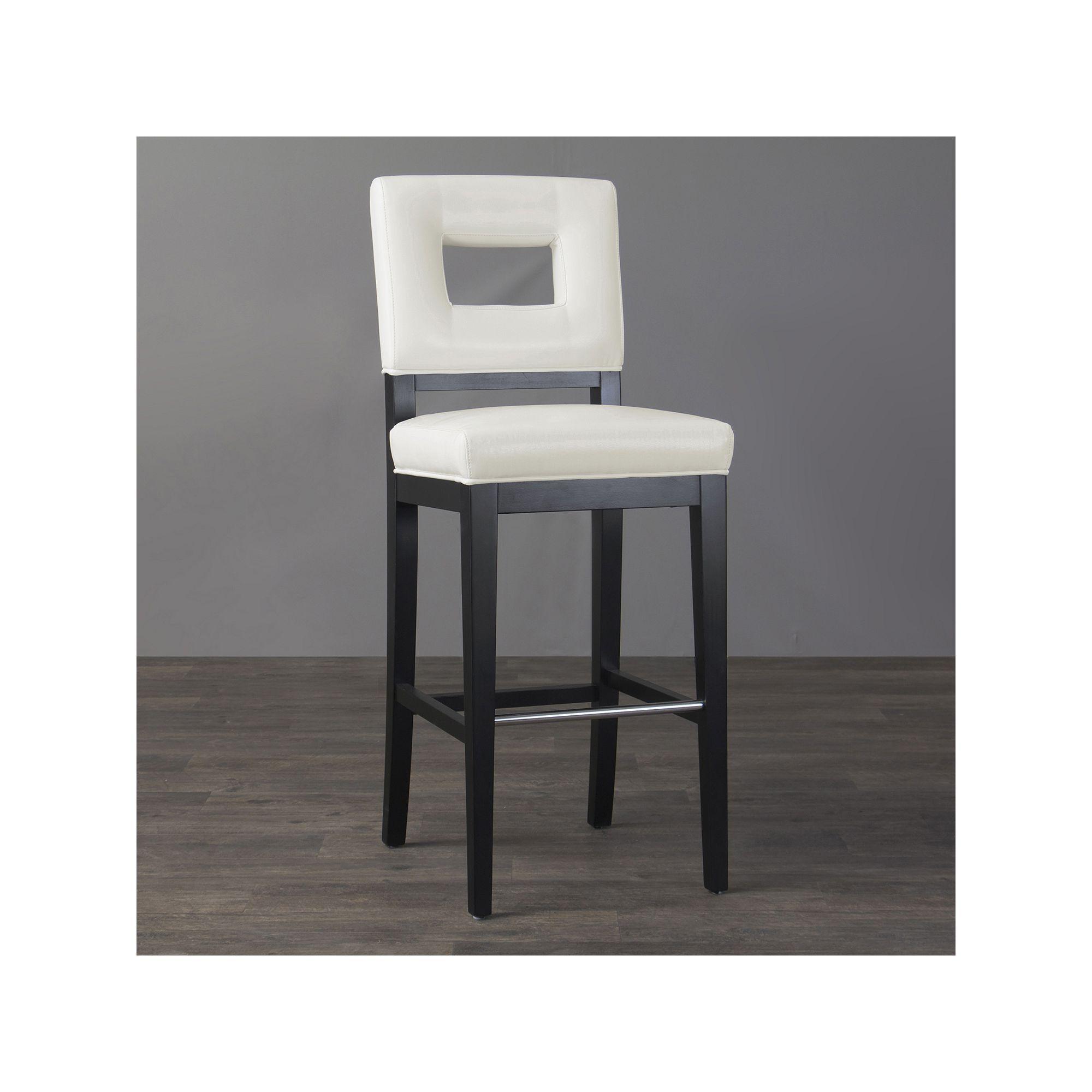 Baxton studio faustino leather bar stool white durable