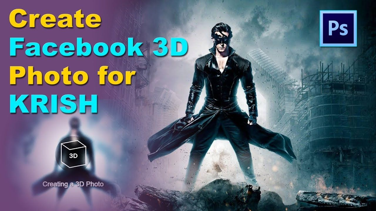 How To Create 3d Facebook Photos In Photoshop Hrithik Roshan In Krish Film Poster Design Facebook Photos Poster Design