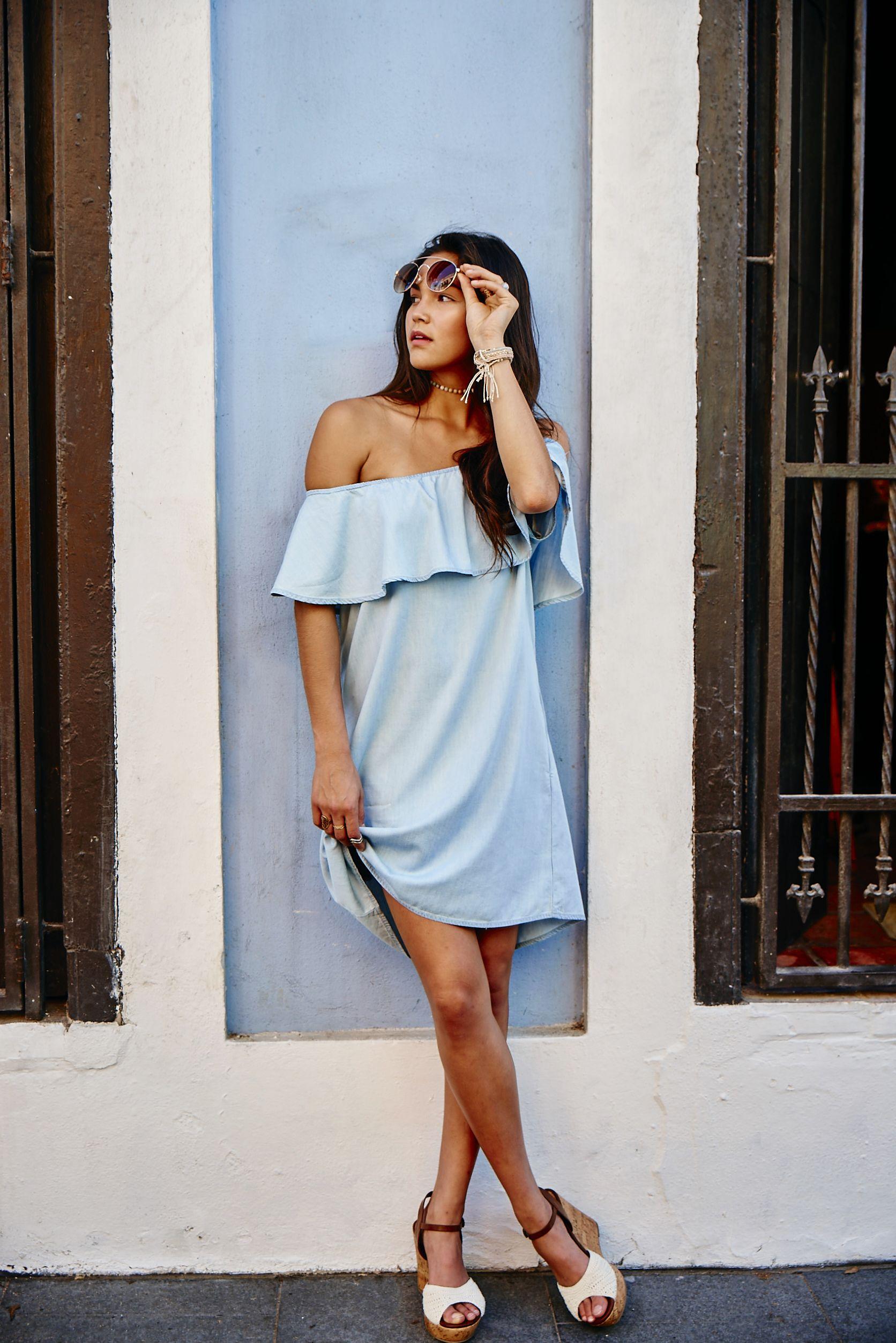 Altar\'d State Shimmy Off-the-Shoulder Dress, Ruffles, Blue Dresses ...
