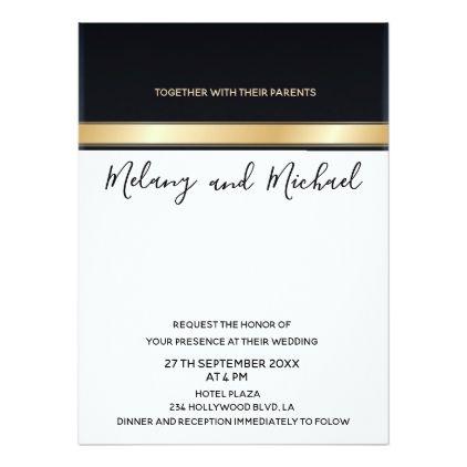 Elegant modern chic black white and gold wedding card - formal - formal invitation style