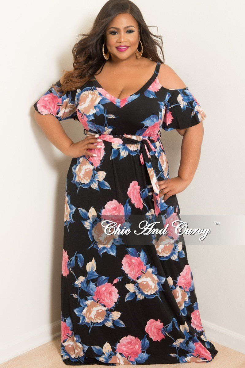 bf822bd6056 Plus Size Cold Shoulder Dress in Black Pink Navy and Tan Floral Print – Chic  And Curvy