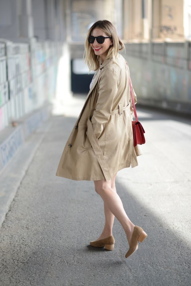 """Nautical and Nude - """"I threw on my favorite trench from our line along with a pair of nude pumps and red accessories (bag, lip, and nails), for a final look that combined preppy boat culture with a classic city aesthetic"""""""