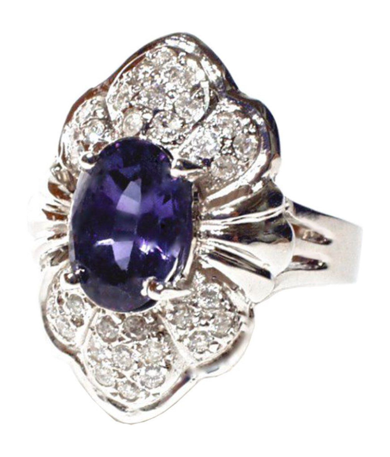 2.5 cttw 14k White Gold Art Deco Tanzanite and Diamond Cocktail Ring Handcrafted In USA ((L0400) Womens Size 4)