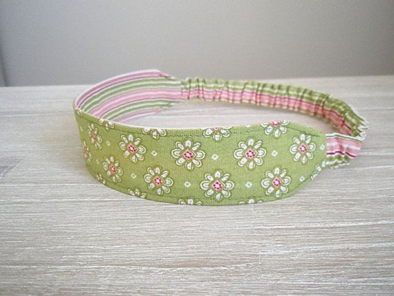 pink and green headband for girl fabric by greylittlemouse