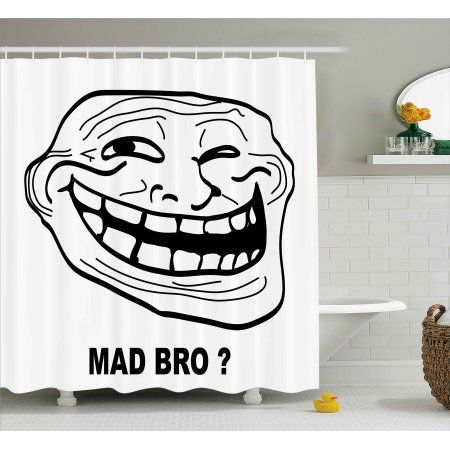 Humor Shower Curtain Cartoon Style Troll Face Guy For Annoying Popular Artful Internet Meme Design Fabric Bathroom Set With Hooks 69W X 75L Inches Long
