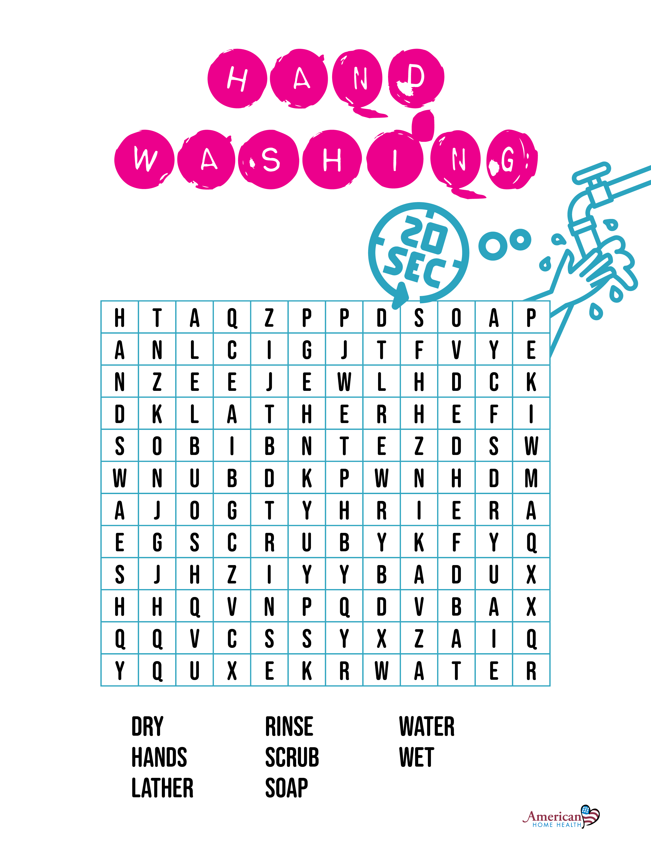 Hand Washing Word Search Puzzle For Kids Puzzles For Kids Word Search Puzzle Health Words [ 3300 x 2550 Pixel ]