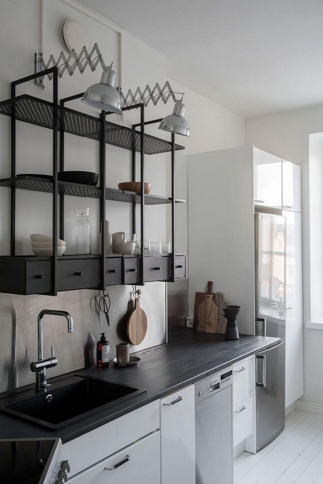 15 Wonderful Industrial Kitchen Shelf Design Ideas To Organize Your Kitchen Kitchen Shelf Design Industrial Kitchen Shelves Industrial Kitchen Design