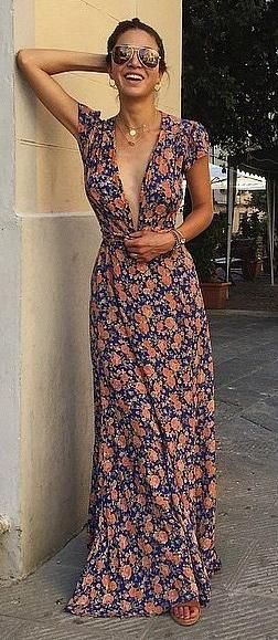 98c000452669 floral maxi. summer style. deep V neck. Complete with camisole underneath