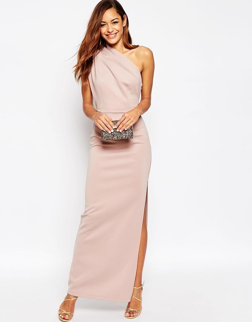 Asos tall wedding guest dresses  ASOS  ASOS One Shoulder Maxi Dress With Exposed Zip at ASOS