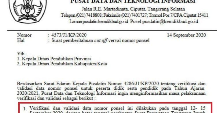Verval Nomor Ponsel Diperpanjang Sampai 25 September 2020 Pendidikan Ponsel Surat