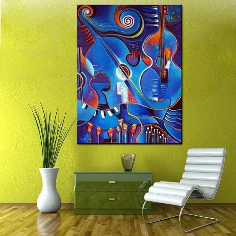 pas cher bleu abstraite violon peinture l 39 huile peint la main morte toile peinture abstraite. Black Bedroom Furniture Sets. Home Design Ideas