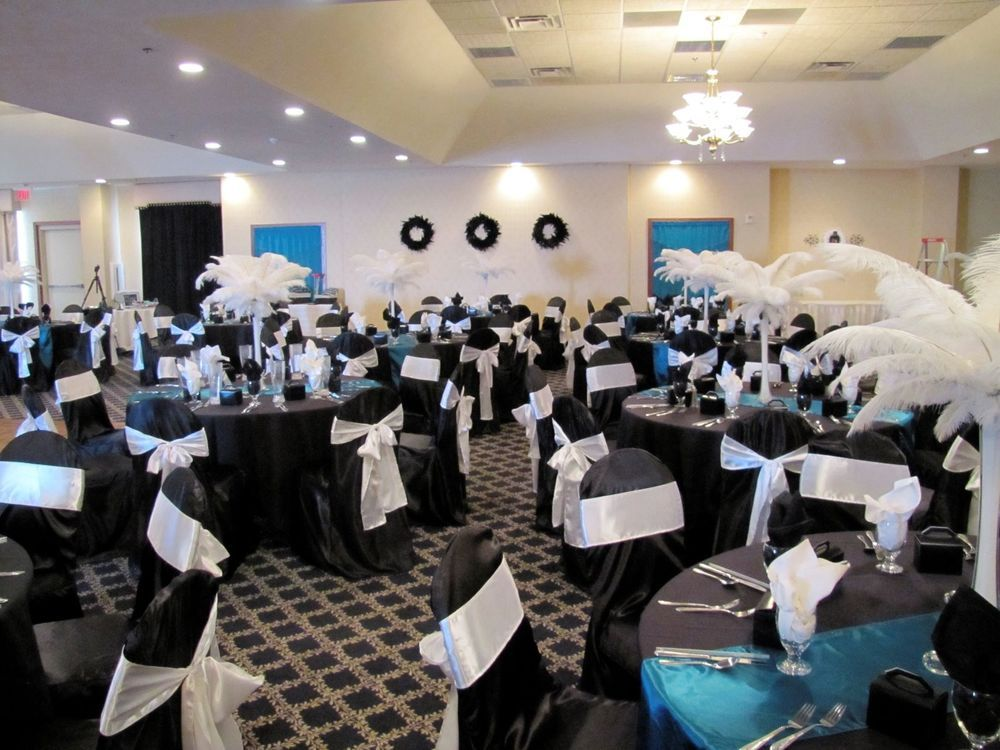 100 Black Satin Wedding Banquet Chair Covers with White sashes