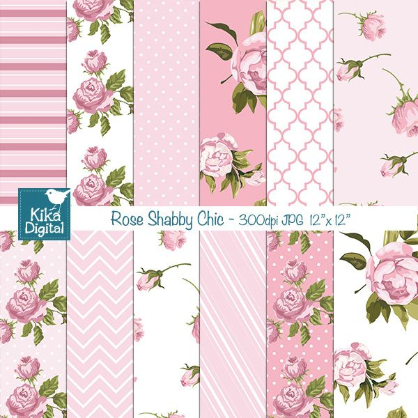 Rose Shabby Chic Papers Vintage Graphics For Scrapbooking And
