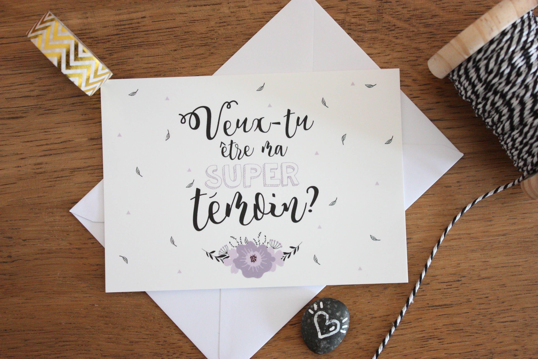 """Annonce Témoin Mariage dedans carte postale a6 """"super témoin"""", typographie, illustration, annonce"""