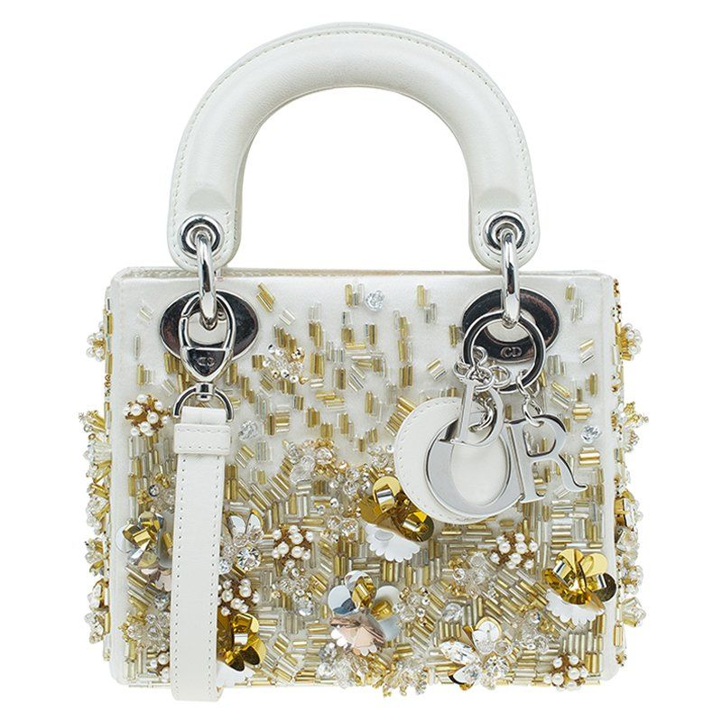 1275ad98e38f Dior Off White Satin Embroidered Limited Edition Mini Lady Dior Tote - Buy    Sell - LC