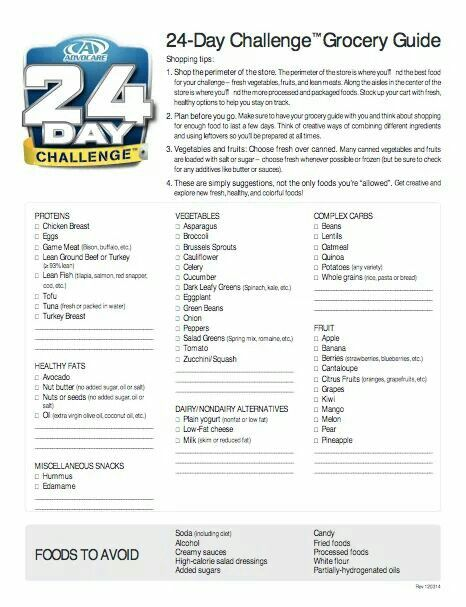 advocare 24 day challenge grocery list pdf  AdvoCare 24 Day Challenge Grocery list. Good to use all the time not ...