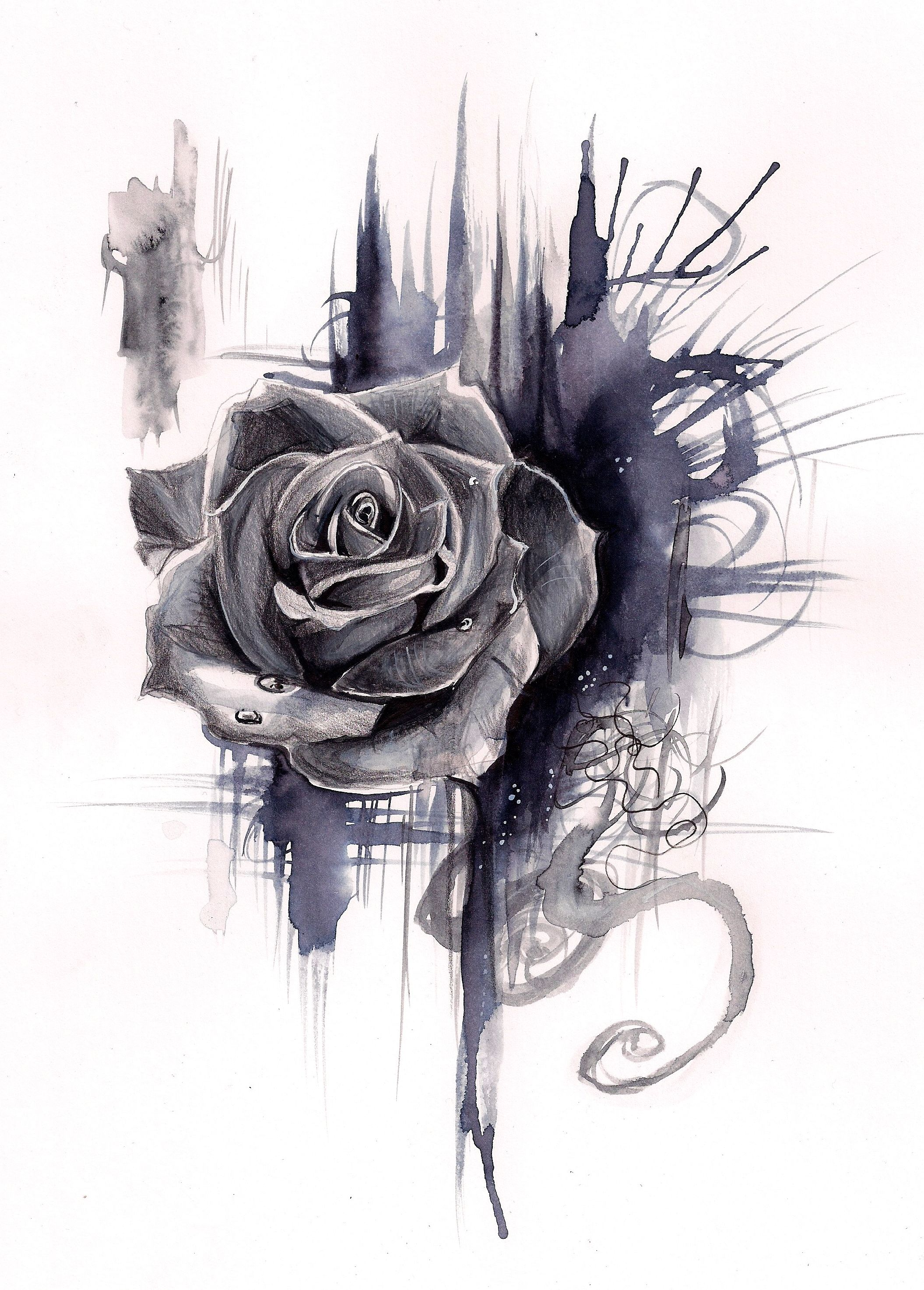 Ink Wash Rose Print 8x10 From Katy Lipscomb Rose Drawing Sleeve Tattoos Neck Tattoo