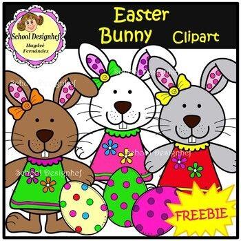 FREE - Easter Bunny - Clip Art - Freebie (School Designhcf)