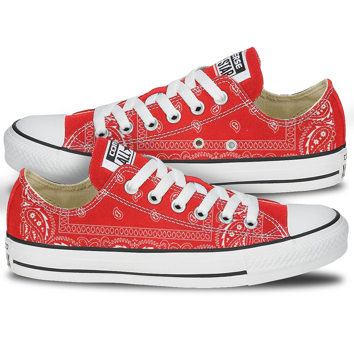45637a237076 Red Bandana Converse Sneakers