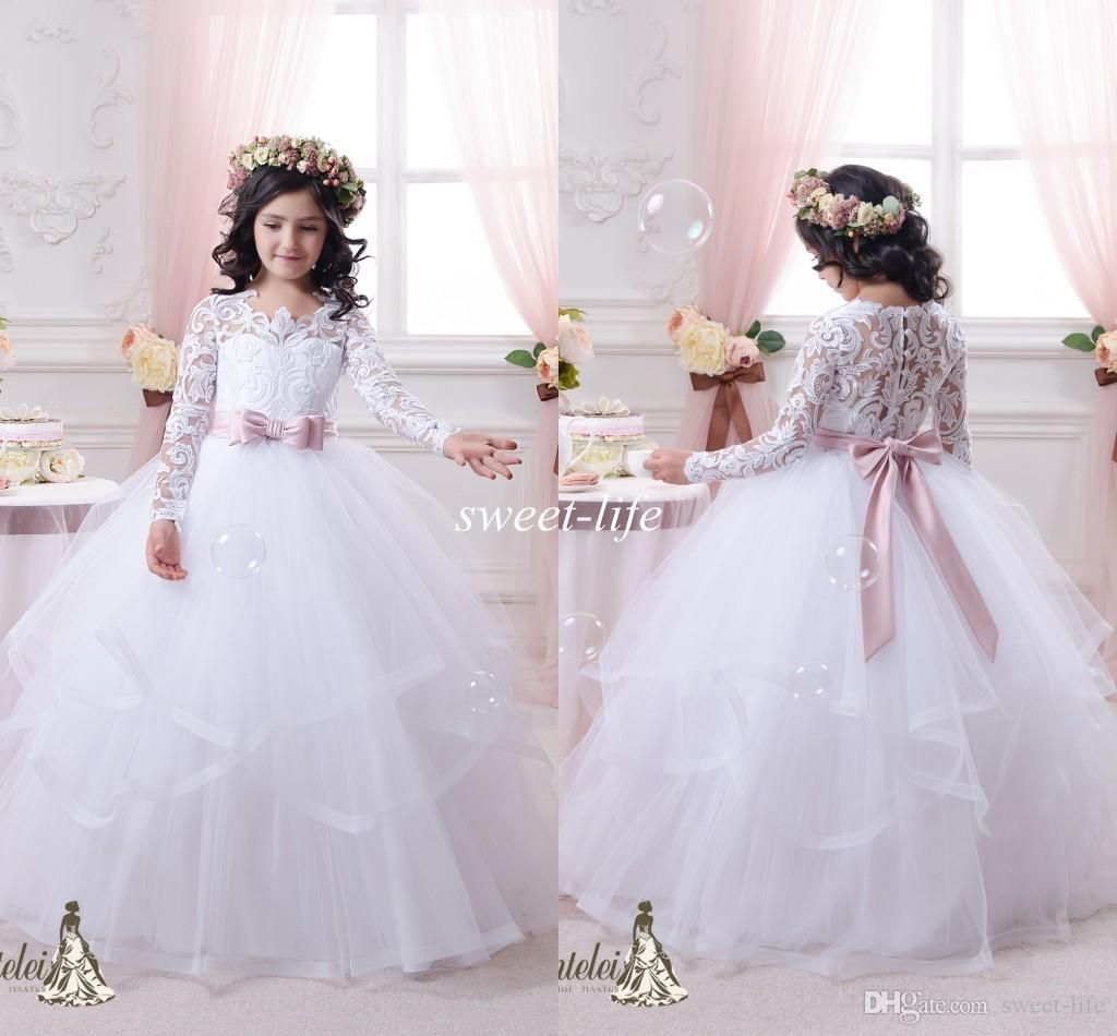 0d779a330c4b9 Vintage Lace Long Sleeves Flower Girls Dresses Ball Gown Tutu 2015 Blush  Sash Ruffles Floor Length Girls Pageant Dress Kids Communion Gowns Online  with ...