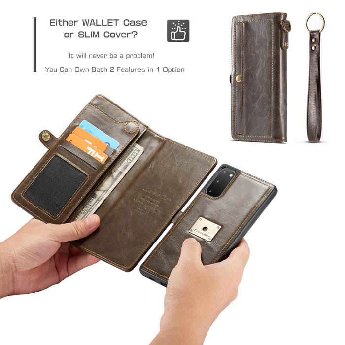 CaseMe Samsung Galaxy S20 Wallet Magnetic Case Coffee