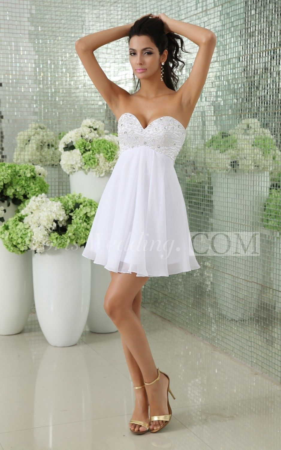 Sweetheart Chiffon Short Wedding Reception Dress With Beaded Top And Lace Up White