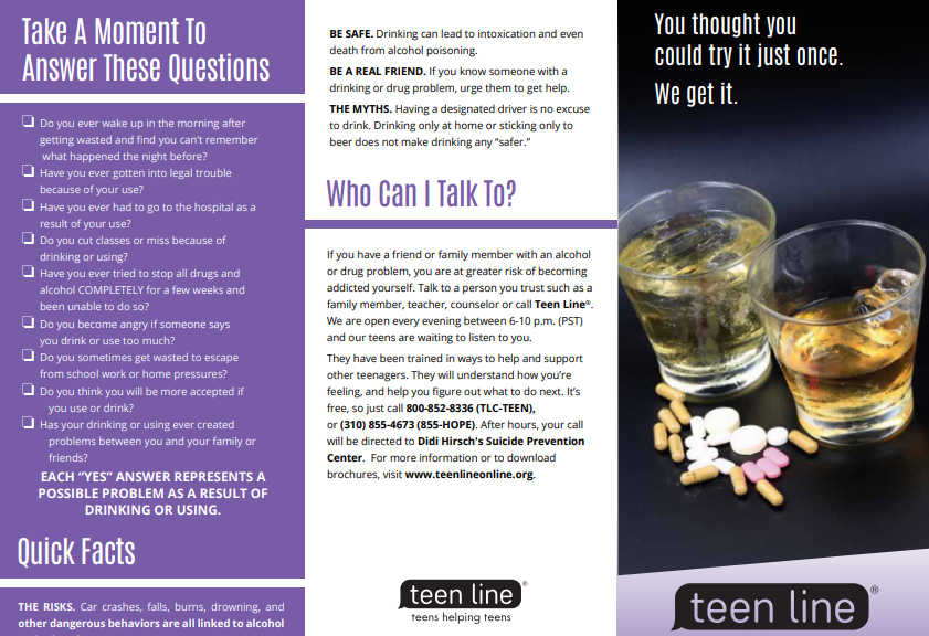 Teenline Drug/Alcohol Brochure | For Teens and Young Adults in 2018 ...