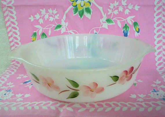 Charming vintage Fire King Peach Blossom casserole, 1.5 quart, Made in USA