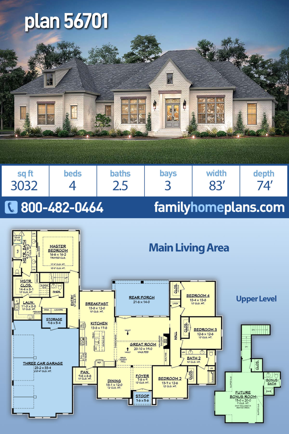 Photo of French Country Style House Plan 56701 with 4 Bed, 3 Bath, 3 Car Garage