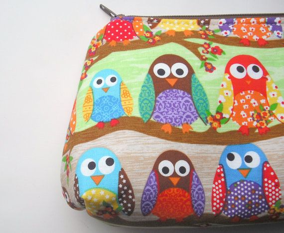 Cosmetic Bag Make Up Pouch Zippered   Owls in a por bagsbymelanie, $13,00