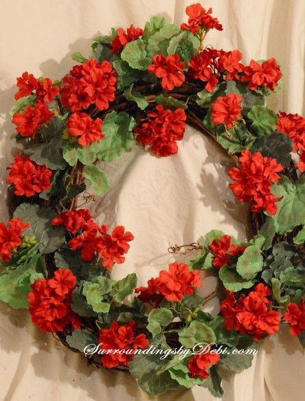 Diy Red Geranium Wreath Creating A Summer Entrance Red
