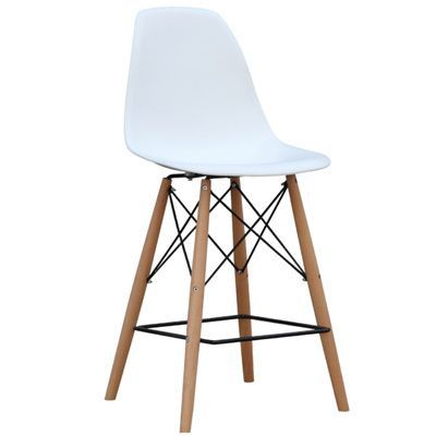 Built with a modern style this white finished counter chair features a wood and wired base with a crisscross design and ABS material on the chair seat. Built with a high seat at 42 inches.