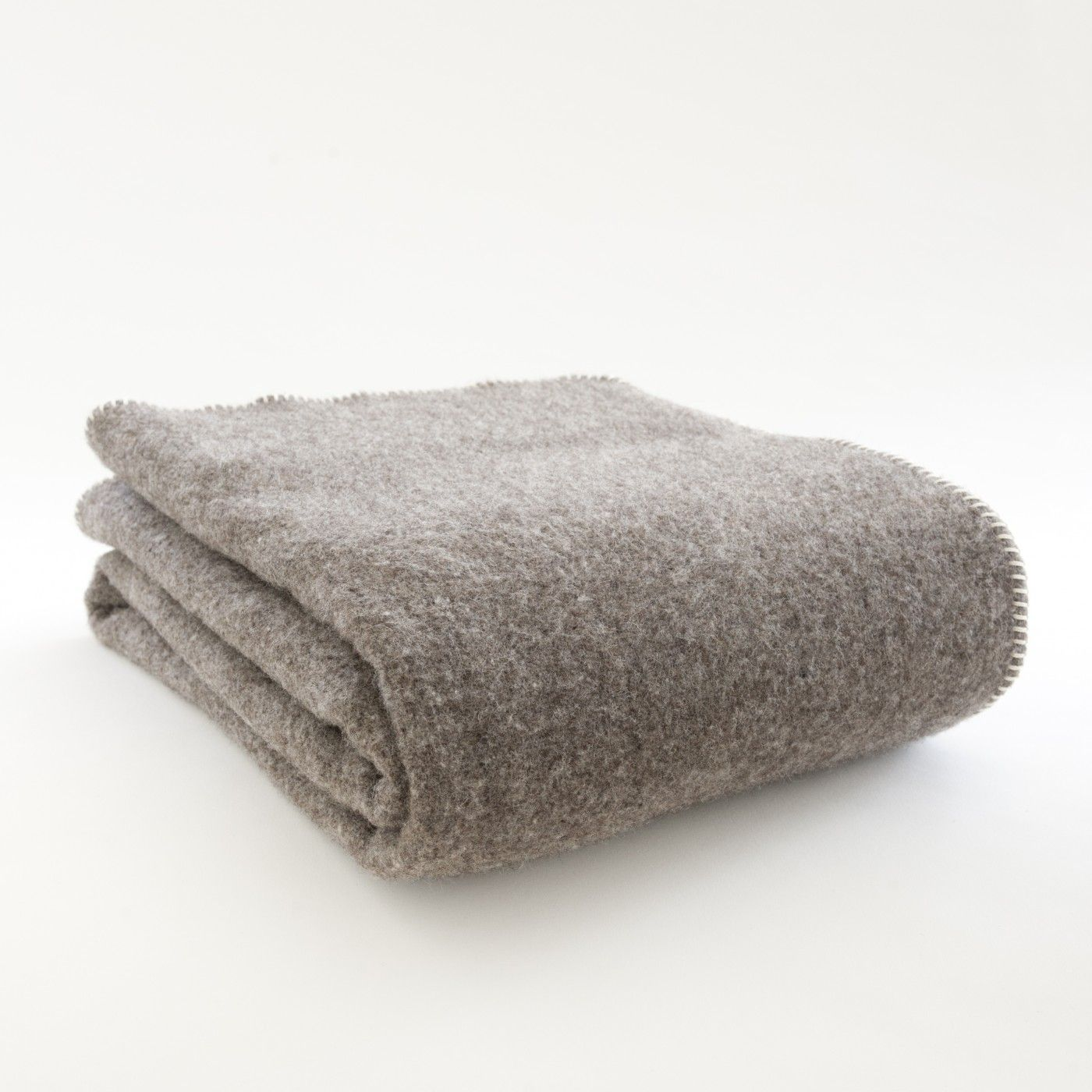 landmade - eco un-dyed pure wool blanket:  grey