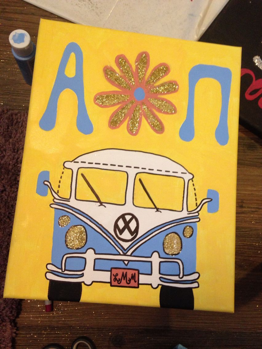 AOII Painted Canvas, Big-Little, hippie, Volkswagen #biglittlecanvas AOII Painted Canvas, Big-Little, hippie, Volkswagen #biglittlecanvas