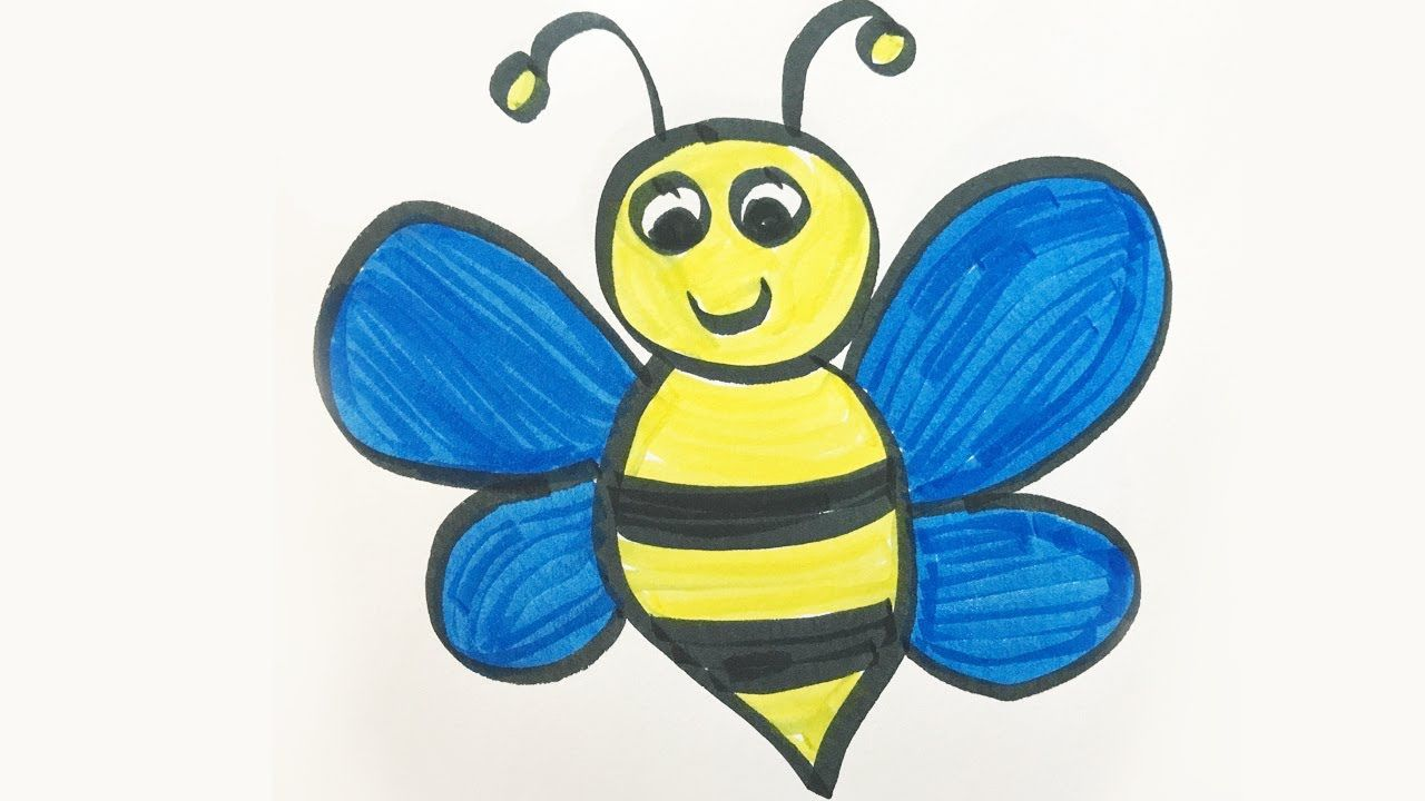 How To Draw And Color A Bumble Bee For Kids Bee Drawing Bumblebee Drawing Bee Drawing Easy