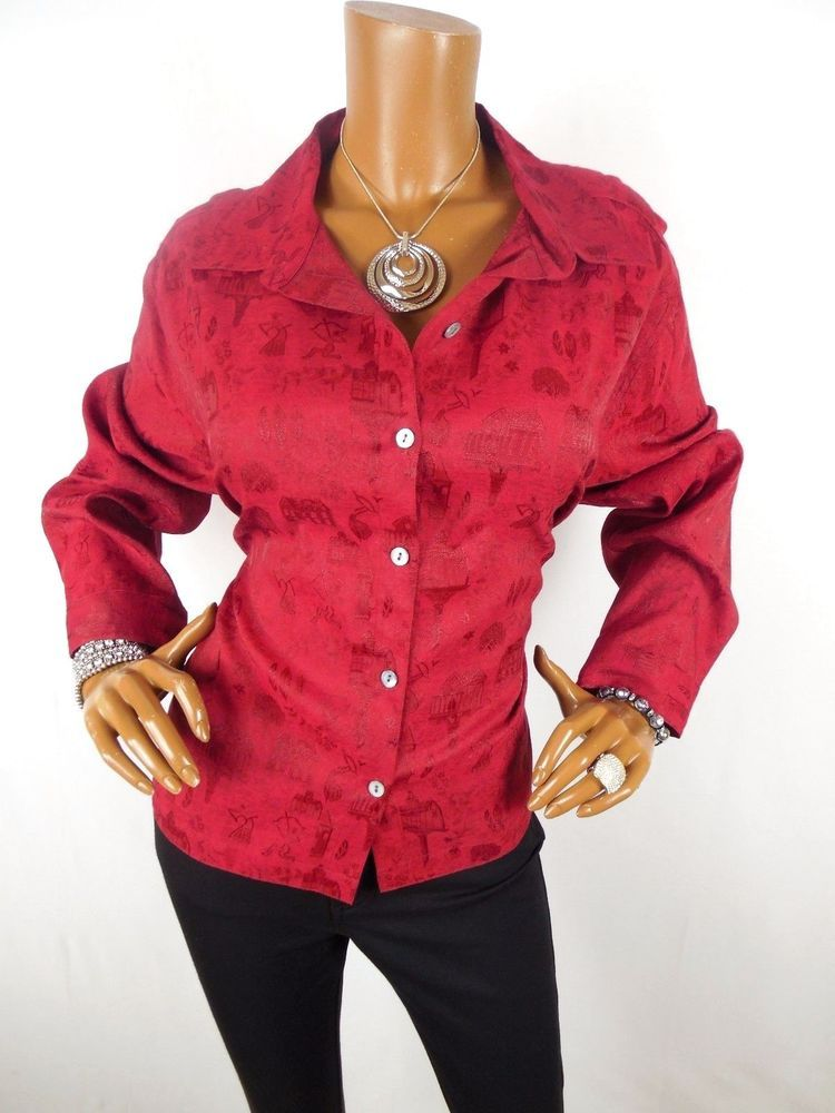Chico S Sz 3 Womens Top L Xl Silk Red Holiday Shirt Button Down