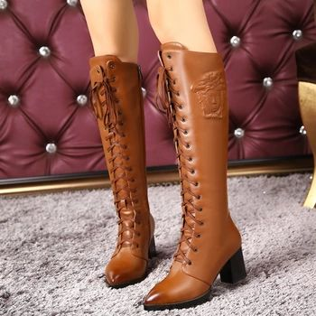 2016 fashion genuine leather shoes woman winter boots high heels pointed toe black brown knee high boots for women riding boots