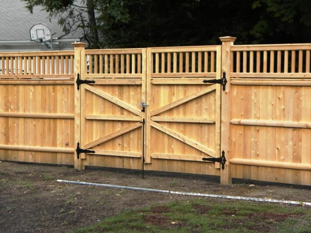Wood Fence Double Gate Design Ideas With Wood Gate Materials By .